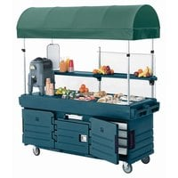 Cambro CamKiosk KVC856C192 Granite Green Vending Cart with 6 Pan Wells and Canopy