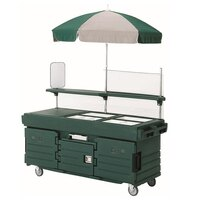 Cambro CamKiosk KVC856U519 Green Vending Cart with 6 Pan Wells and Umbrella
