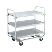 Vollrath 97166 Thrift-I-Cart Chrome 3 Shelf Cart - 24 inch x 16 inch x 36 1/2 inch