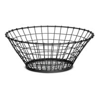 Tablecraft GM18 Grand Master Round Black Wire Basket - 18 inch x 7 1/2 inch