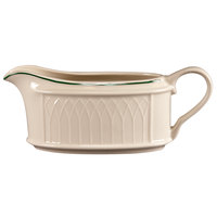 Homer Laughlin 1430-0319 Green Jade Gothic 11.75 oz. Sauce Boat - Off White 12 / Case