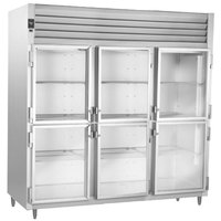 Traulsen Stainless Steel RHF332WP-HHG 83.2 Cu. Ft. Glass Half Door Three Section Reach In Pass-Through Heated Holding Cabinet - Specification Line