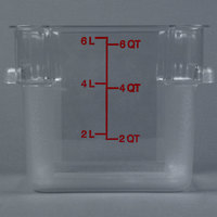 Carlisle 1072207 6 qt. Clear Square StorPlus Container with Red Graduations