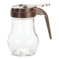Tablecraft 406B 6 oz. Glass Teardrop Syrup Dispenser with Brown ABS Top - 12/Pack