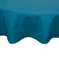 83 inch Teal Round Hemmed Polyspun Cloth Table Cover