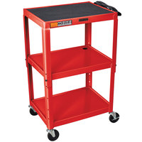 Luxor / H. Wilson W42ARE Red Metal 3 Shelf A/V Utility Cart 18 inch x 24 inch x 42 inch - Adjustable Height