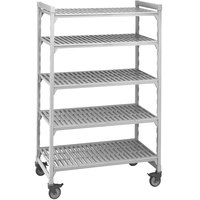 Cambro Camshelving Premium CPMU184267V5480 Mobile Shelving Unit with Premium Locking Casters 18 inch x 42 inch x 67 inch - 5 Shelf