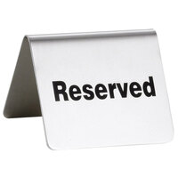 Tablecraft B9 2 1/2 inch x 2 inch Stainless Steel Reserved Tent Sign
