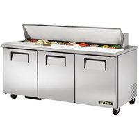 True TSSU-72-18 72 inch 3 Door Sandwich / Salad Prep Refrigerator - 18 Pans