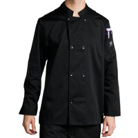 Chef Revival J061BK-2X Size 52 (2X) Black Customizable Double Breasted Chef Coat - Poly-Cotton