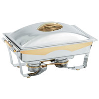 Vollrath 48322 9 qt. Panacea Rectangular Chafer Full Size with Gold Accents