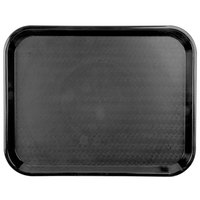 Carlisle CT141803 Customizable Cafe 14 inch x 18 inch Black Standard Plastic Fast Food Tray - 12/Case