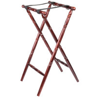 Lancaster Table & Seating Red Brown 32 inch Folding Turned Leg Tray Stand Chic Wood