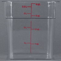 Cambro 4SFSCW135 4 qt. Clear Square Polycarbonate Food Storage Container with Winter Rose Gradations