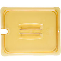 Carlisle 10431U13 StorPlus 1/2 Size Amber Universal High Heat Handled Lid with Spoon Notch