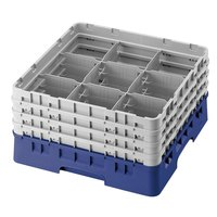 Cambro 9S638168 Blue Camrack 9 Compartment 6 7/8 inch Glass Rack