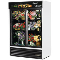 True GDM-47FC-LD White Two Door Glass Floral Case - 47 Cu. Ft.