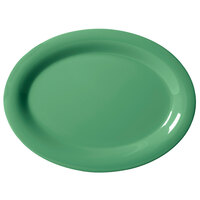 GET OP-120-FG Diamond Mardi Gras 12 inch x 9 inch Rainforest Green Oval Melamine Platter - 12 / Case