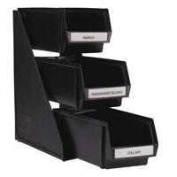 Vollrath 4843-06 Traex Black Self-Serve Condiment Bin Stand Set with 3-Tier Stand and 11 1/4 inch Condiment Bins