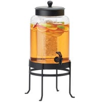 Cal-Mil 1580-2-13 2 Gallon Black Soho Glass Beverage Dispenser with Ice Chamber - 10 inch x 12 inch x 20 1/2 inch
