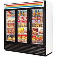 True Refrigeration GDM-72F-LD White Three Glass Door Merchandiser Freezer with LED Lighting - 72 Cu. Ft.