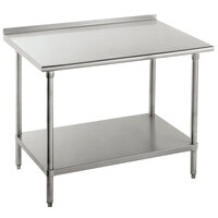16 Gauge Advance Tabco FAG-363 36 inch x 36 inch Stainless Steel Work Table with 1 1/2 inch Backsplash and Galvanized Undershelf