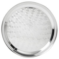 16 inch Stainless Steel Serving / Display Tray with Swirl Pattern - Narrow Rim