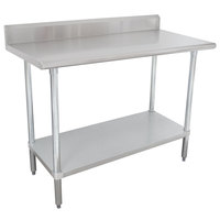 Advance Tabco KSLAG-245-X 60 inch x 24 inch 16 Gauge Stainless Steel Work Table with Undershelf and Backsplash