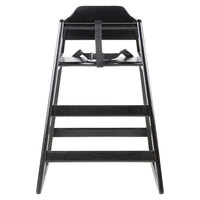 Lancaster Table & Seating Black Stacking Restaurant Wood High Chair - Unassembled