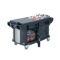 Cambro VBRUTHD5186 Navy Blue 5' Versa Ultra Work Table with Storage and Heavy-Duty Casters