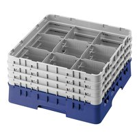 Cambro 9S800168 Blue Camrack 9 Compartment 8 1/2 inch Glass Rack