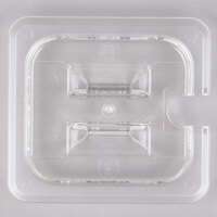 1/6 Size Clear Polycarbonate Food Pan Lid with Spoon Notch and Handle