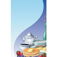 8 1/2 inch x 11 inch Menu Paper - Breakfast Themed Table Setting Design Cover - 100/Pack
