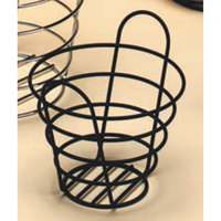 American Metalcraft BWB965 Round Black Wire Basket with Handles - 9 inch x 6 1/2 inch