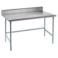 Advance Tabco TKLG-367 36 inch x 84 inch 14 Gauge Open Base Stainless Steel Commercial Work Table with 5 inch Backsplash
