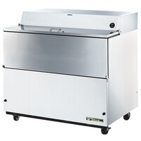 True TMC-49-SS 49 inch White One Sided Milk Cooler with Stainless Steel Interior