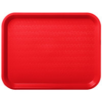 Carlisle CT101405 Cafe 10 inch x 14 inch Red Standard Plastic Fast Food Tray