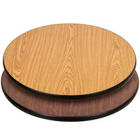 Lancaster Table & Seating 30 inch Laminated Round Table Top Reversible Walnut / Oak