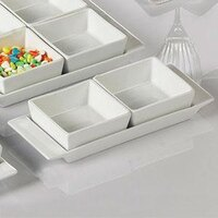 CAC F-2S Fortune 8 3/4 inch x 3 1/2 inch Rectangular China Tasting Tray with Handles - White - 24 / Case
