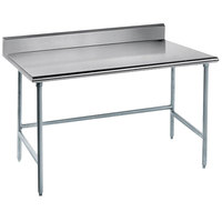 Advance Tabco TKMG-244 24 inch x 48 inch 16 Gauge Open Base Stainless Steel Commercial Work Table with 5 inch Backsplash