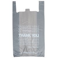 18 inch x 8 inch x 32 inch Extra Large Gray T-Shirt Thank You Bag - 450 / Case