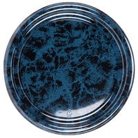 Sabert 816 16 inch Black Marble Round Catering Tray - 3/Pack