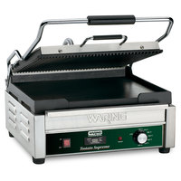 Waring WDG250T 14 1/2 inch x 11 inch Grooved Top & Smooth Bottom Panini Sandwich Grill with Timer - 120V