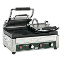Waring WPG300T 17 inch x 9 1/4 inch Panini Ottimo Grooved Top & Bottom Panini Sandwich Grill with Timers - 240V