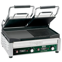 Waring WDG300T 9 1/4 inch x 17 inch Panini Sandwich Grill with Two Grooved Plates, Two Smooth Plates, and Timer - 240V
