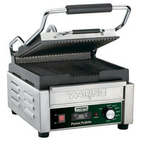 Waring WPG150T 9 3/4 inch x 9 1/4 inch Panini Perfetto Grooved Top & Bottom Panini Sandwich Grill with Timer - 120V