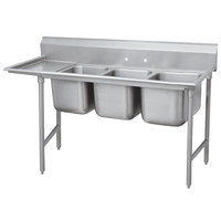 Advance Tabco 93-3-54-18 Regaline Three Compartment Stainless Steel Sink with One Drainboard - 77 inch