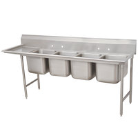 Advance Tabco 93-44-96-24 Regaline Four Compartment Stainless Steel Sink with One Drainboard - 133 inch