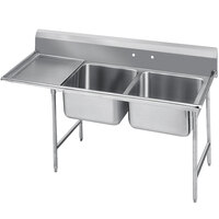 Advance Tabco 93-62-36-18 Regaline Two Compartment Stainless Steel Sink with One Drainboard - 62 inch