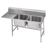 Advance Tabco 94-82-40-18 Spec Line Two Compartment Pot Sink with One Drainboard - 66 inch
